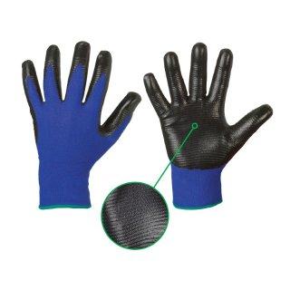 Arbeitshandschuhe mit Nitrilbeschichtung blau / schwarz Profilgrip