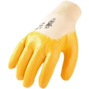 Arbeitshandschuhe Nitril gelb mit Strickbund...