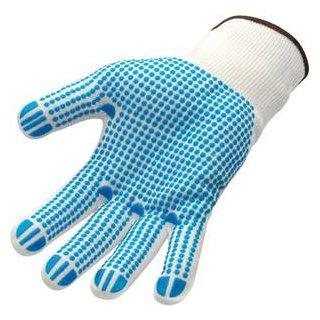 Feinstrick-Arbeitshandschuhe weiß blaue PVC Noppen